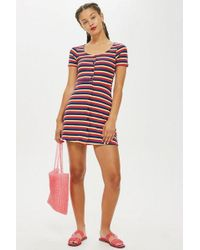 TOPSHOP - Stripe Button Through Dress - Lyst