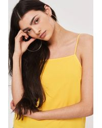 TOPSHOP - Yellow Square Neck Cami - Lyst