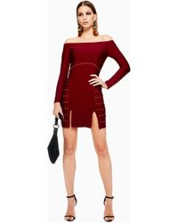 TOPSHOP - Studded Bardot Bandage Dress - Lyst