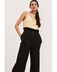 TOPSHOP - Tall Cropped Button Up Trousers - Lyst