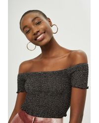 TOPSHOP - Metal Shirred Bardot Top - Lyst