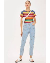 TOPSHOP - Embroidered Mom Jeans - Lyst