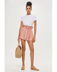 TOPSHOP - Linen Button Paper Bag Shorts - Lyst