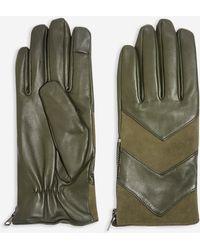 TOPSHOP - Chevron Leather Touchscreen Gloves - Lyst