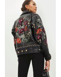 TOPSHOP - Embellished Biker Jacket - Lyst