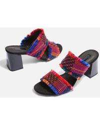 TOPSHOP - Two Part Woven Mules - Lyst
