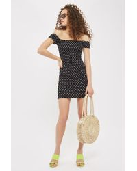 TOPSHOP - Petite Spotted Bodycon Dress - Lyst