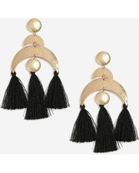 TOPSHOP - Moon And Disc Tassel Drop Earrings - Lyst