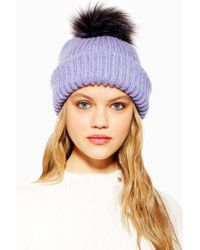 96a41a40426 TOPSHOP - Knit Faux Fur Pom Pom Beanie - Lyst