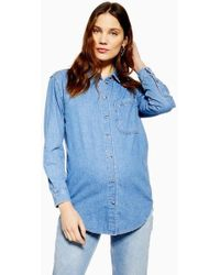 1bb86cab689 TOPSHOP Oversized Chambray Shirt in White - Lyst