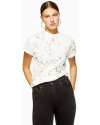 TOPSHOP - Foil Splat Roll T-shirt - Lyst