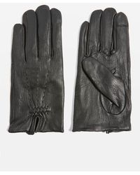 TOPSHOP - Stitched Leather Gloves - Lyst