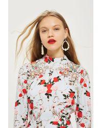 TOPSHOP - Rose Print Dress - Lyst