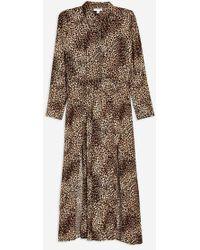 TOPSHOP - Tall Animal Midi Shirt Dress - Lyst