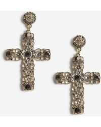 TOPSHOP - Statement Cross Drop Earrings - Lyst