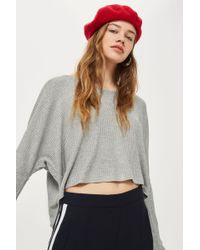 TOPSHOP - Waffle Sweat Top - Lyst