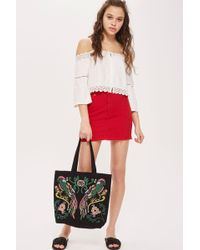 TOPSHOP - Parrot Embroidered Tote Bag - Lyst