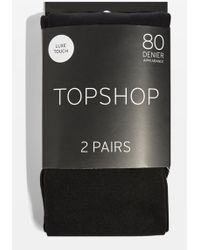 TOPSHOP - Pack Of Two 80 Denier Tights - Lyst