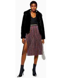 5093d1e949 Topshop Metallic Pleated Midi Skirt in Metallic - Lyst