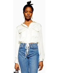 ed06447afb2a3 TOPSHOP - Drawstring Detail Blouse - Lyst