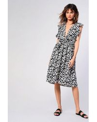 TOPSHOP - animal Print Plunge Midi Dress By Glamorous Petite - Lyst
