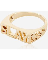 Skinnydip London - Rose Gold Slay Ring By Skinnydip - Lyst