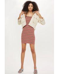 TOPSHOP - Petite Striped Bodycon Mini Dress - Lyst