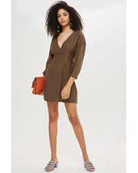 TOPSHOP - Stitch Detail Mini Wrap Dress - Lyst