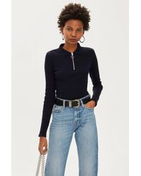 TOPSHOP - Petite Long Sleeve Zip Polo - Lyst