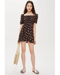 TOPSHOP - Petite Spot Print Shirred Bodycon Dress - Lyst
