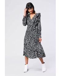 Glamorous Spot Print T-shirt Dress in Black - Lyst 128441ec7
