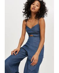 TOPSHOP - Cut Out Jumpsuit - Lyst