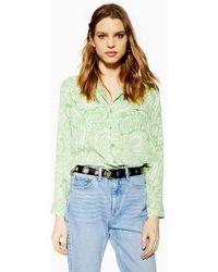 TOPSHOP - Green Paisley Shirt - Lyst