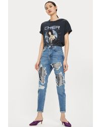TOPSHOP   Moto Chain Mail Mom Jeans   Lyst