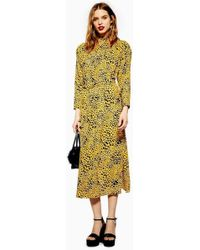 TOPSHOP - Abstract Animal Belted Midi Dress - Lyst