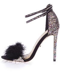 TOPSHOP - Reese Feather Heeled Sandals - Lyst