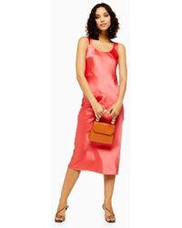 TOPSHOP - Coral Built Up Slip Dress - Lyst