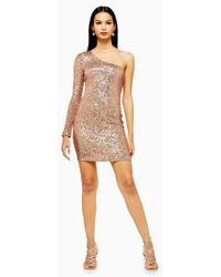 TOPSHOP - Sequin One Sleeve Mini Dress - Lyst