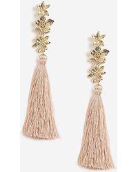 TOPSHOP - 3 Flower Tassel Drop Earrings - Lyst