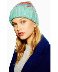 TOPSHOP - Embroidered Retro Beanie - Lyst