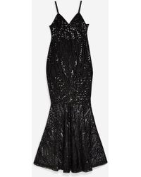 eac0cc0923f Club L Brocade Sequin Fishtail Maxi Dress With Long Sleeves in Black ...