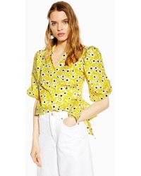 d95c5321add3c7 TOPSHOP Knot Front Jacquard Blouse in Yellow - Lyst