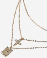 TOPSHOP - Rose And Cross Multi-chain Necklace - Lyst