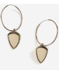 TOPSHOP - Shield Charm Drop Hoop Earrings - Lyst
