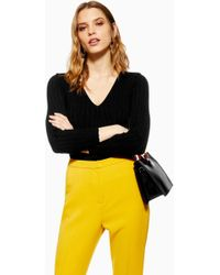 f841b426013bd5 Lyst - TOPSHOP Cold Shoulder Ribbed Top in Black