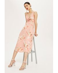 TOPSHOP - Twist Front Floral Mini Dress - Lyst
