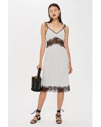 TOPSHOP - Spot Plisse Slip Dress - Lyst
