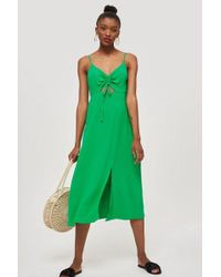 TOPSHOP - Ruched Front Molly Midi Slip Dress - Lyst