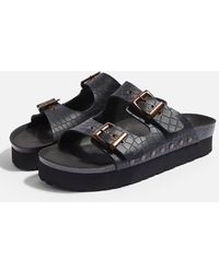 841022fc6179 Lyst - TOPSHOP Womens Fang Double Buckle Flatforms Black in Black