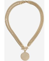 TOPSHOP - Circle T Bar Chain Necklace - Lyst